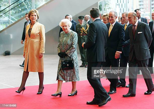 President Mary McAleese, Queen Elizabeth II, Dr Martin McAleese, Prince Philip, Duke of Edinburgh and British Ambassador Julian King at the...