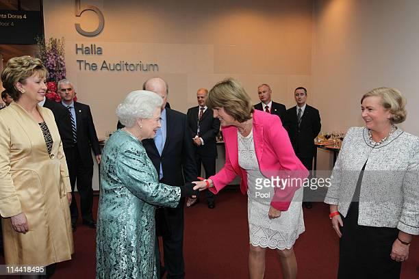 President Mary McAleeseQueen Elizabeth II Minister for Social Protection Joan Burton TD and Minister for Children Frances Fitzgerald TD at the...