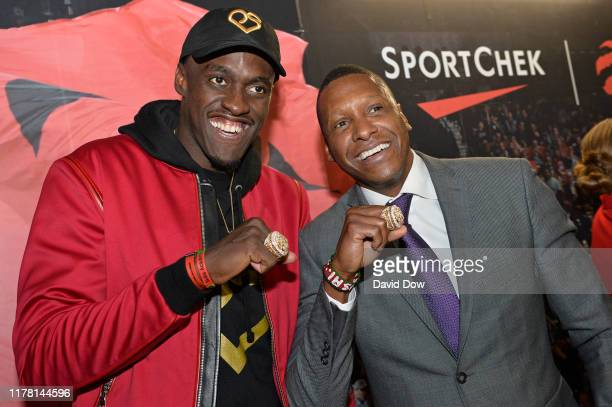 President Masai Ujiri, and Pascal Siakam of the Toronto Raptors pose for a photo with their Championship Ring after the game against the New Orleans...