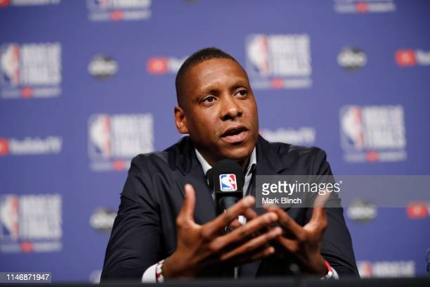 President Masai Ujiri of the Toronto Raptors addresses the media during practice and media availability as part of the 2019 NBA Finals on May 29,...