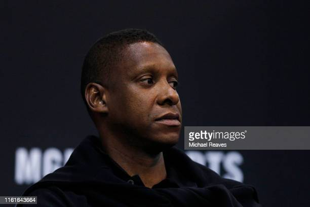 President Masai Ujiri of the Toronto Raptors looks on during the game between the Chicago Bulls and the Charlotte Hornets during the 2019 Summer...