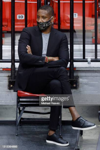 President Masai Ujiri of the Toronto Raptors watches play between the Miami Heat and the Toronto Raptors during the second quarter at American...