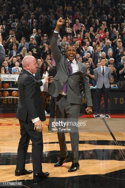 President Masai Ujiri of Toronto Raptors smiles after receiving his Championship ring before the game New Orleans Pelicans on October 22, 2019 at the...