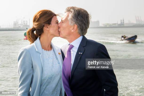 President Mauricio Macri and his wife Juliana Awada of Argentina kissing each other during an boat trip in the harbor of Rotterdam on March 28 2017...