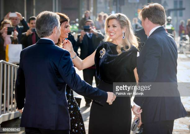 President Mauricio Macri and his wife Juliana Awada welcome King WillemAlexander and Queen Maxima of The Netherlands before the ballet performance...