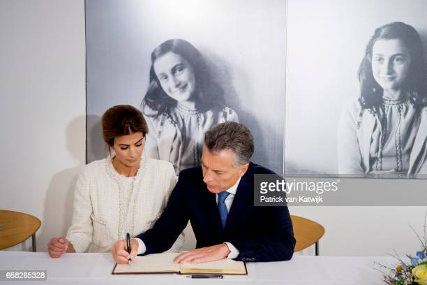 President Mauricio Macri of Argentina and his wife Juliana Awada visit the Anne Frank House on March 27 2017 in Amsterdam The Netherlands The...