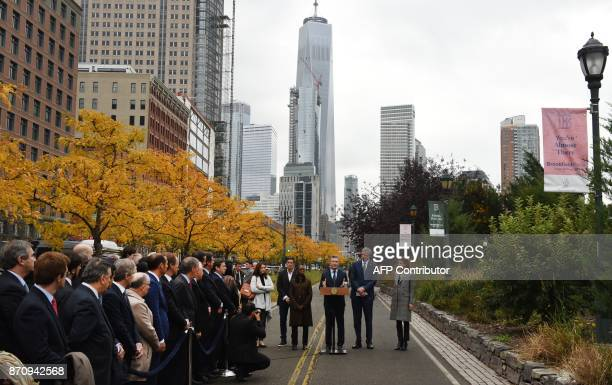 President Mauricio Macri of Argentina speaks as the First Lady of Argentina Juliana Awada New York City Mayor Bill de Blasio and First Lady of New...