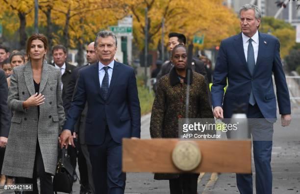 President Mauricio Macri of Argentina the First Lady of Argentina Juliana Awada New York City Mayor Bill de Blasio and First Lady of New York City...