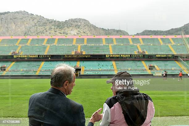 President Maurizio Zamparini and Head coach Giuseppe Iachini look on during a Palermo training session at Stadio Renzo Barbera on May 21, 2015 in...