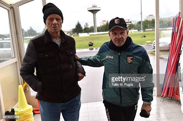 President Maurizio Zamparini and Head Coach Giuseppe Iachini look on during a US Citta' di Palermo training session at Stadio Gino Colaussi on...