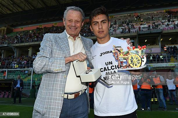 President Maurizio Zamparini and Paulo Dybala of Palermo pose before the Serie A match between US Citta di Palermo and ACF Fiorentina at Stadio Renzo...