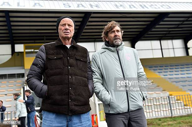 President Maurizio Zamparini and Team Manager Manuel Gerolin, look on during a US Citta' di Palermo training session at Stadio Gino Colaussi on...