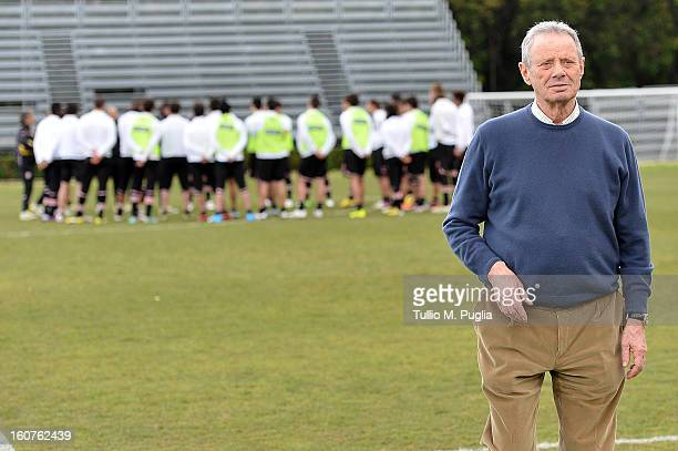 President Maurizio Zamparini looks on during a Palermo training session at Tenente Carmelo Onorato Sports Center on February 5, 2013 in Palermo,...