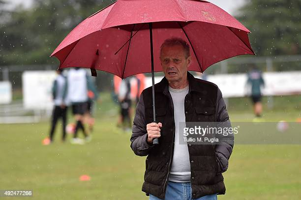 President Maurizio Zamparini looks on during a Palermo training session at Stadio Gino Colaussi on October 13, 2015 in Gradisca d'Isonzo, Italy.