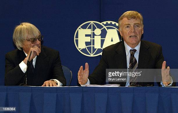 President Max Moseley and Bernie Ecclestone explain the rule changes which will affect Formula One in the 2003 season during a Formula One FIA Press...