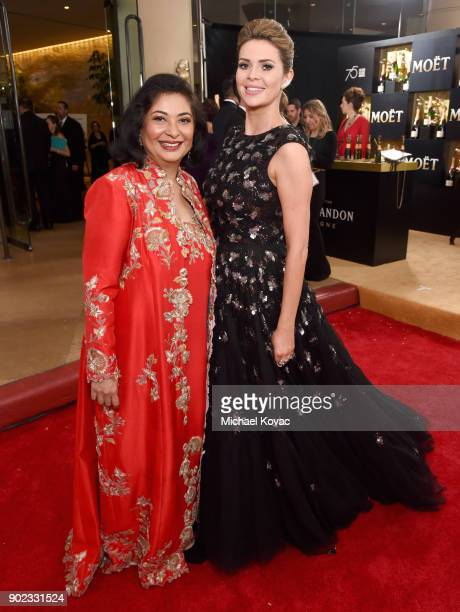 President Meher Tatna and TV host Carly Steel celebrate The 75th Annual Golden Globe Awards with Moet Chandon at The Beverly Hilton Hotel on January...