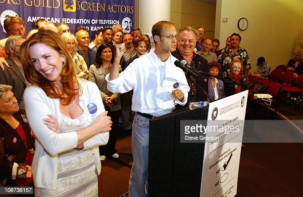 President Melissa Gilbert, David Hyde Pierce and AFTRA President John Connolly