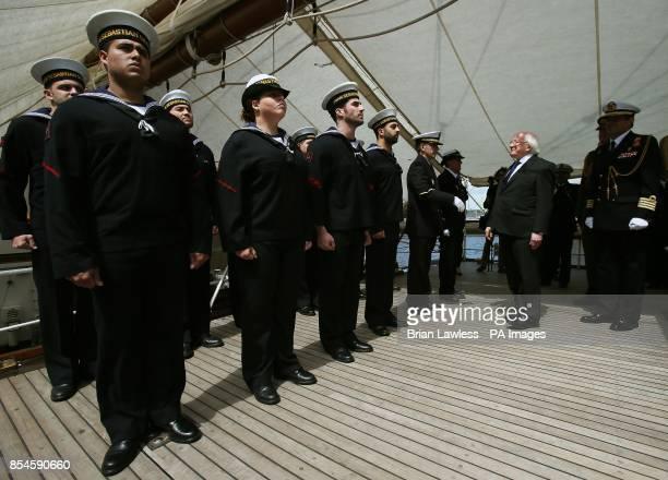 President Michael D Higgins arrives onboard Spanish training vessel 'Juan Sebastian de Elcano' at Sir John Rogersons Quay Dublin