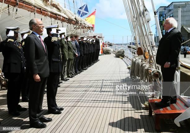 President Michael D Higgins is greeted by Spanish Ambassador to Ireland Javier Garrigues Florez as he arrives onboard Spanish training vessel 'Juan...