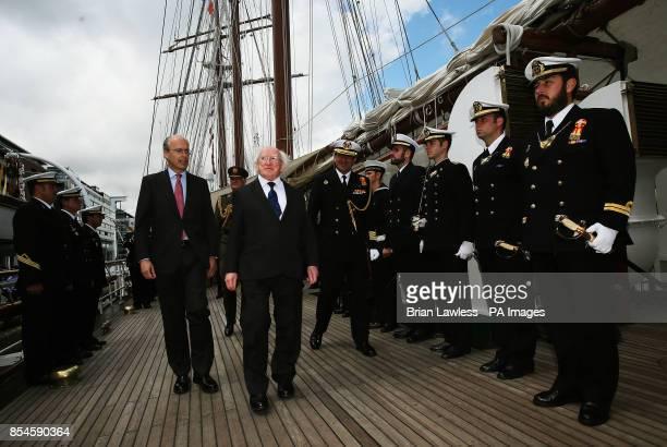 President Michael D Higgins with Spanish Ambassador to Ireland Javier Garrigues Florez as he arrives onboard Spanish training vessel 'Juan Sebastian...