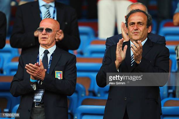 President Michel Platini and Arrigo Sacchi attend the UEFA European U21 Championship Group A match between Norway and Italy at Bloomfield Stadium on...