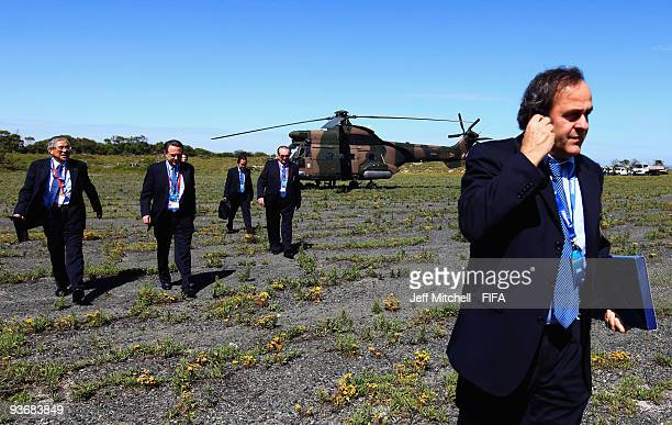 UEFA president Michel Platini and FIFA Executive Committee members arrive by helicopter for the FIFA Executive Committee Meeting on December 3 2009...