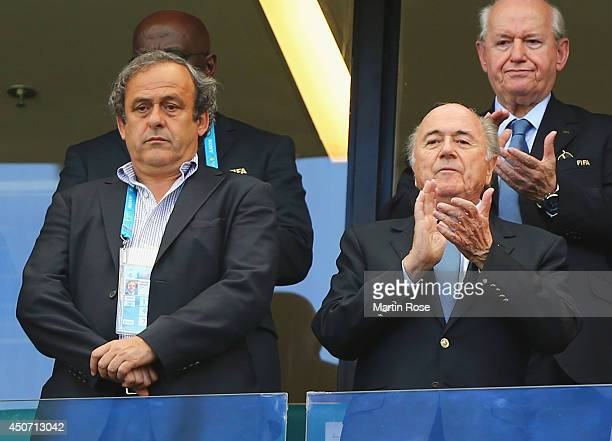 President Michel Platini and FIFA President Joseph Blatter look on during the 2014 FIFA World Cup Brazil Group G match between Germany and Portugal...