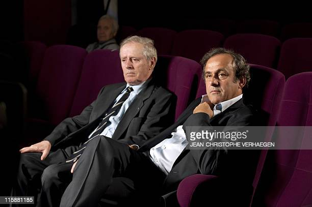 UEFA president Michel Platini and his father Aldo pose during an interview to French television after attending a general assembly of the Lorraine...