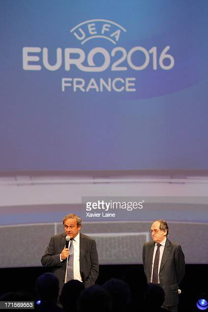 President Michel Platini and Noel Le Graet attend the EURO 2016 Logo Slogan Launch on June 26 2013 in Paris France