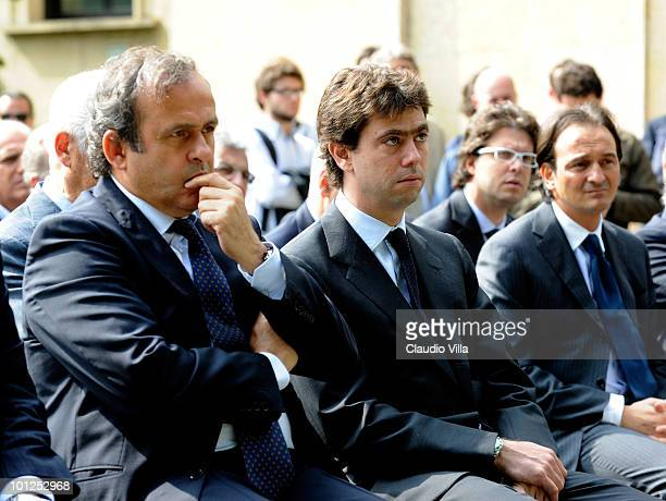 President Michel Platini and President of Juventus FC Andrea Agnelli during the Heysel commemorative ceremony on May 29 2010 in Turin Italy The...