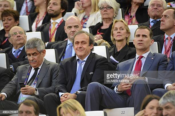 UEFA president Michel Platini and Prince Felipe of Spain wait for the start of the UEFA Europa league final football match between Benfica and...