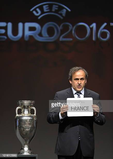 President Michel Platini announces that France will host the Euro 2016 football tournament at the UEFA headquarters in Geneva on May 28 2010 France...