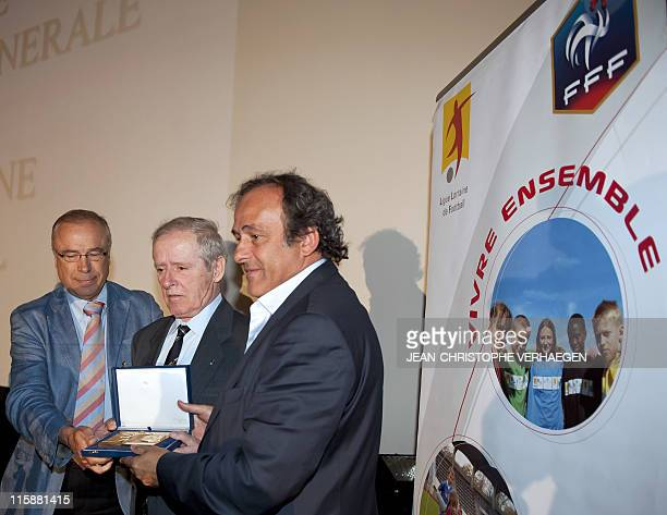 UEFA president Michel Platini decorates his father Aldo on June 11 with a Golden order of the French Football Federation during a general assembly of...