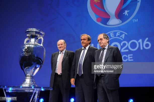 President Michel Platini EURO 2016 President Jacques Lambert and French Football Federation President Noel Le Graet attend the EURO 2016 Logo Slogan...