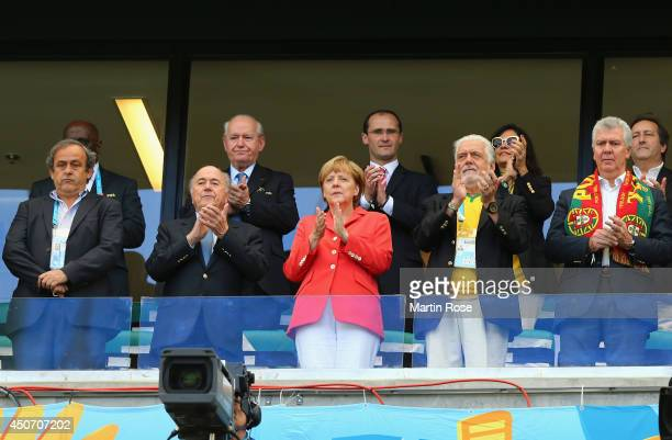 President Michel Platini FIFA President Joseph Blatter and German Chancellor Angela Merkel Bahia Governor Jaques Wagner and Portugal's parliament...