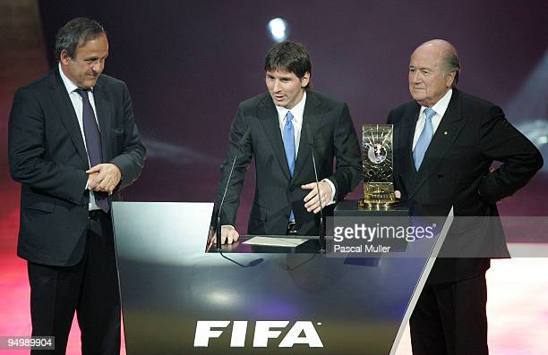 President Michel Platini FIFA World Player 2009 Lionel Messi and FIFA President Josef Blatter during the FIFA World Player Gala 2009 at the...