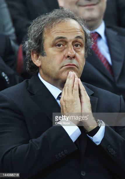 President Michel Platini looks on prior to the UEFA Europa League Final between Atletico Madrid and Athletic Bilbao at the National Arena on May 9...