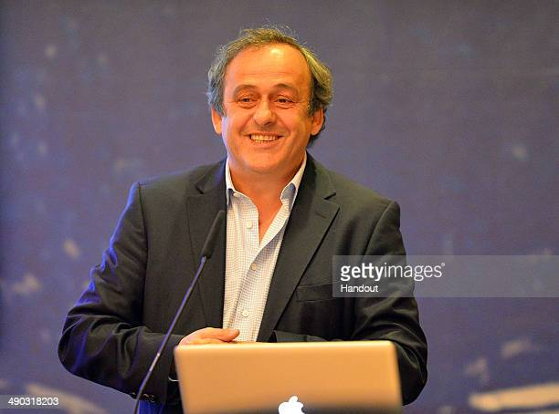 President Michel Platini makes a presentation to the media about the use of additional officials at matches prior to the UEFA Europa League Final...
