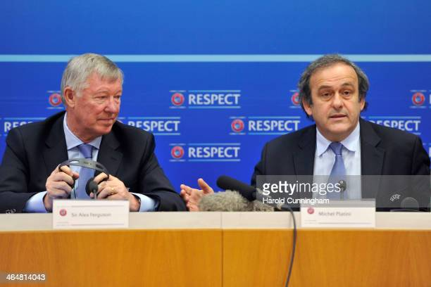 President Michel Platini speaks during a press conference as Sir Alex Ferguson is appointed UEFA Coaching Ambassador at the UEFA headquarters The...