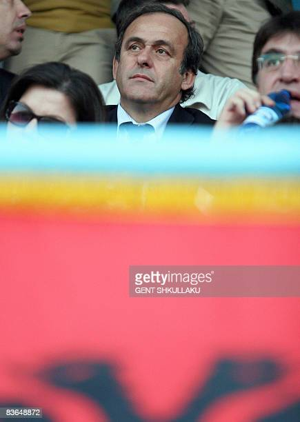 President Michel Platini watches a match at the Niko Dovana stadium in Durres some 40 km from the Albanian capital Tirana on November 11 2008 Platini...