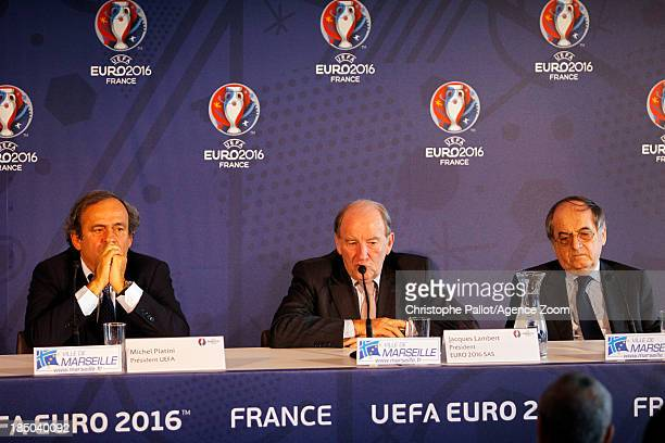 President Michel Platini with President of the Euro 2016 SAS Jacques Lambert President of the French Football Federation Noel le Graet during the...