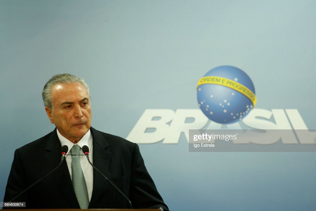 Brazilian President Temer Addresses Alleged Obstruction Of Justice Charges : News Photo