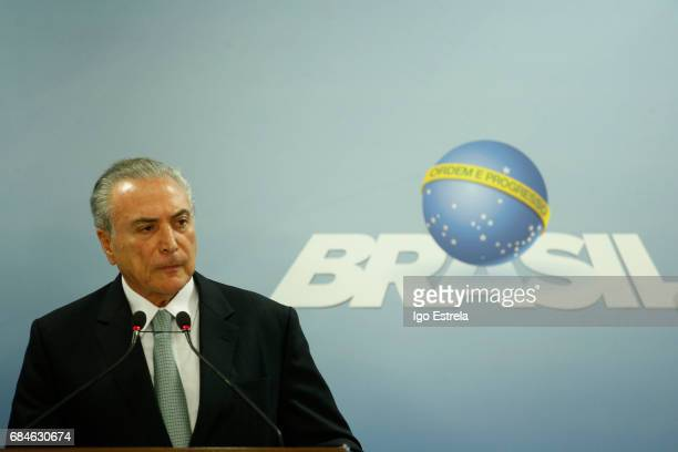 President Michel Temer delivers a statement on May 18 2017 in Brasilia Brazil The statements follow the release of a recording of Temer allegedly...