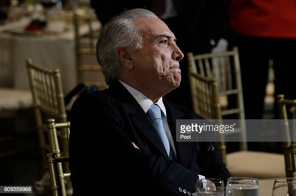 President Michel Temer of Brazil attends a luncheon for world leaders during the United Nations 71st session of the General Debate at the United...
