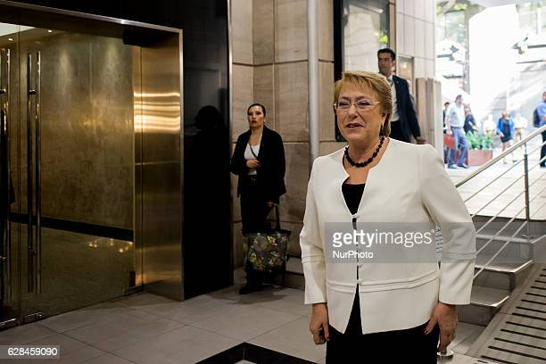 President Michelle Bachelet in Santiago Chile on December 7 2016 attends the International Seminar organized by UNICEF Chile quotPublic Investment in...