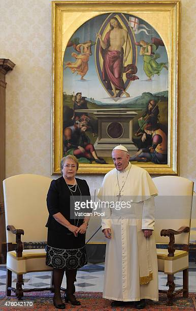 President Michelle Bachelet Jeria of Chile meets with Pope Francis during an audience at the Apostolic Palace on June 5 2015 in Vatican City Vatican...