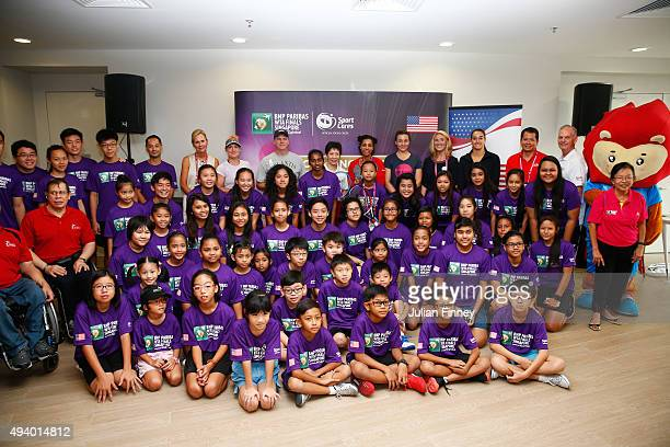 President Micky Lawler player Bethanie MattekSands US Ambassador to Singapore Kirk Wagar Singapore Minister for Culture Community and Youth Grace Fu...