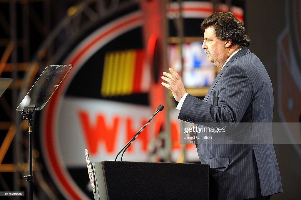 President, Mike Helton speaks during the NASCAR Whelen All-American Series Awards in the Charlotte Convention Center at the NASCAR Hall of Fame on December 7, 2012 in Charlotte, North Carolina.