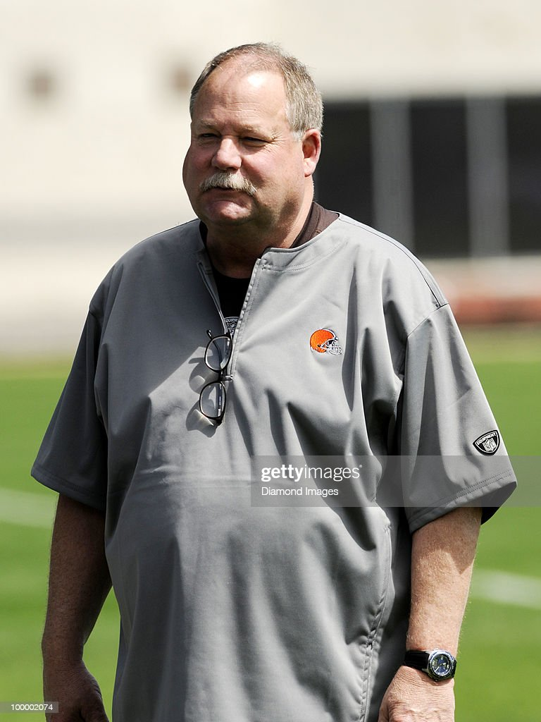 President Mike Holmgren of the Cleveland Browns watches a play during the team's organized team activity (OTA) on May 19, 2010 at the Cleveland Browns practice facility in Berea, Ohio.