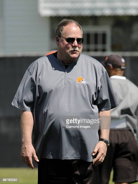 President Mike Holmgren of the Cleveland Browns watches players go through drills during the team's rookie and free agent mini camp on April 30 2010...
